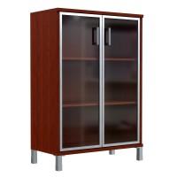Шкаф средний со стеклянными дверьми в AL рамке Skyland Born 420.7 900х435х1136