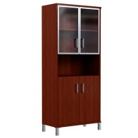 Шкаф высокий с малыми стеклянными дверьми в AL рамке и глухими Skyland Born 430.9 900х435х1904