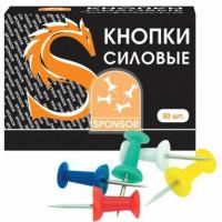 Кнопки силовые 50шт/уп SPONSOR бочонки цветные карт упак