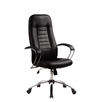 "Кресло руководителя Метта ""Business"" BK-2 CH, кожа черная ""NewLeather"""